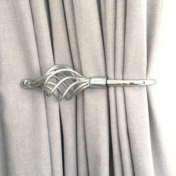 Pair - Chrome Imperial Crown Curtain Holdback