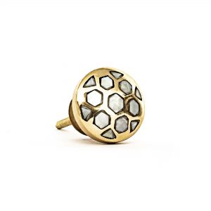 Gold and Pearl Honeycomb Knob