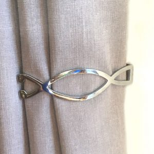 Pair- Chrome Infinity Curtain Holdback