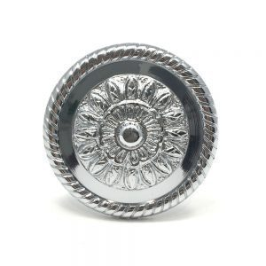 Pair- Large Chrome Embossed Flower Holdback