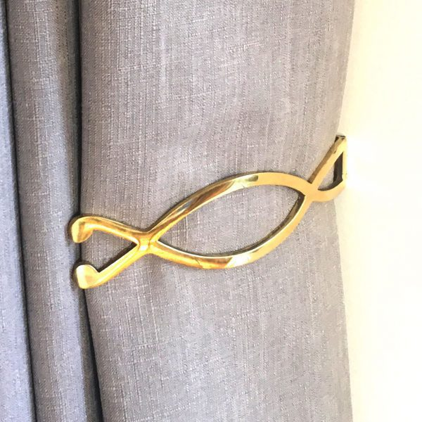 Pair- Polished Brass Infinity Curtain Holdback