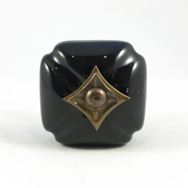 Black Vintage Inspired Ceramic Knob