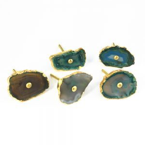 Brown, Green and Blue Agate Sliced Knob