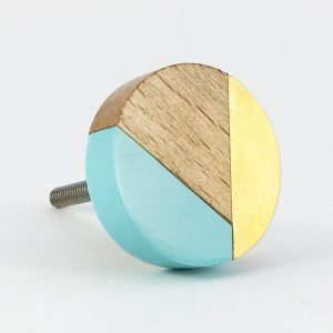 Blue gold and wood trio knob 2 300x300 - Round Blue Trio Knob