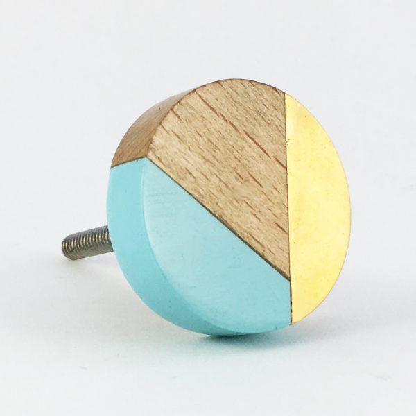 Blue gold and wood trio knob 2 600x600 - Round Blue Trio Knob