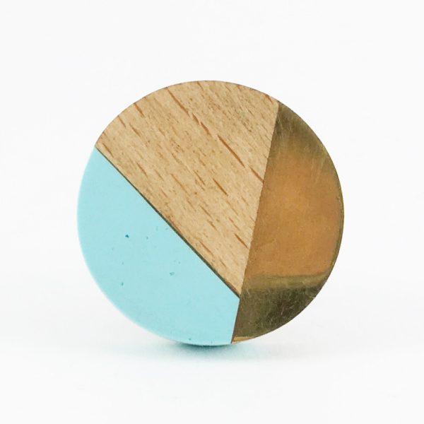 Blue gold and wood trio knob 3 600x600 - Round Blue Trio Knob