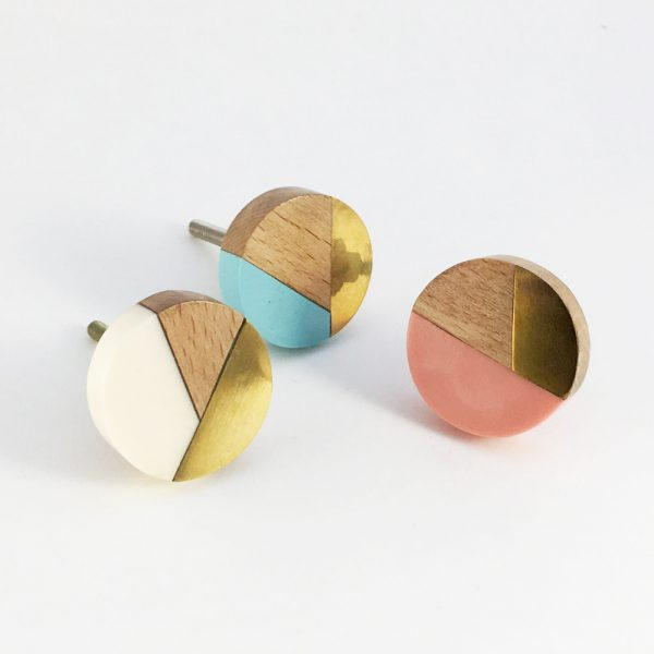 Blue gold and wood trio knob 5 600x600 - Round Black Speckled Trio Knob