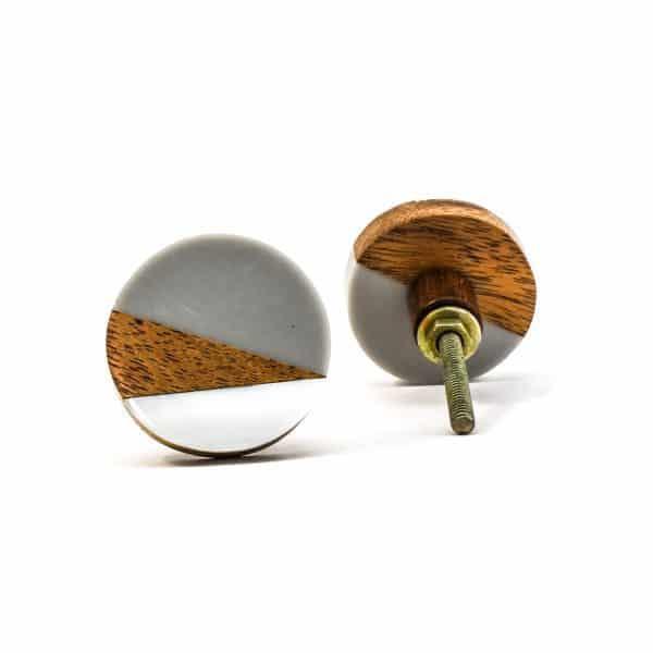 Round Wood Wedge Trio Knob