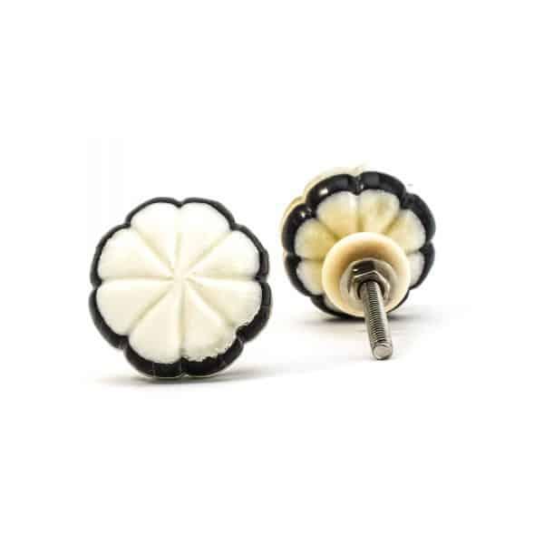 Black and White Bloom Knob