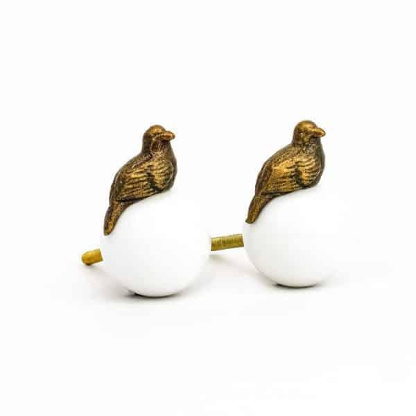 Gold Perched Bird Knob