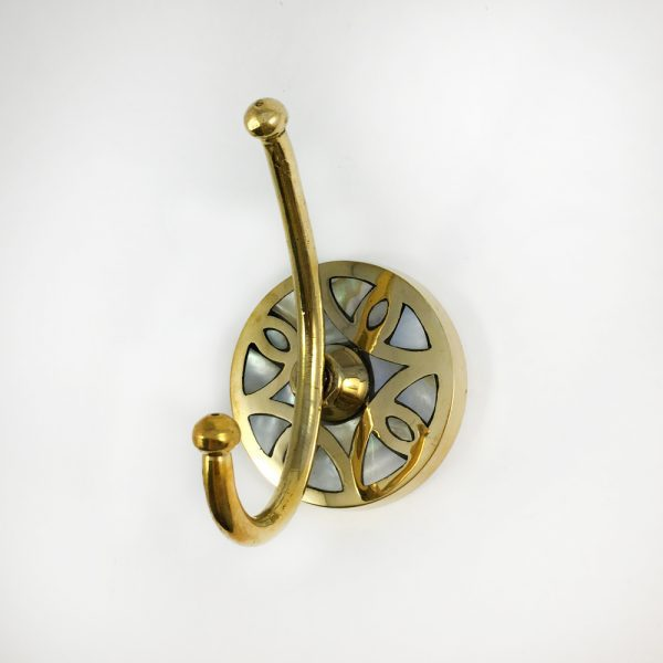 Mother of pearl hook 1 600x600 - Mother of Pearl and Brass Wall Hook