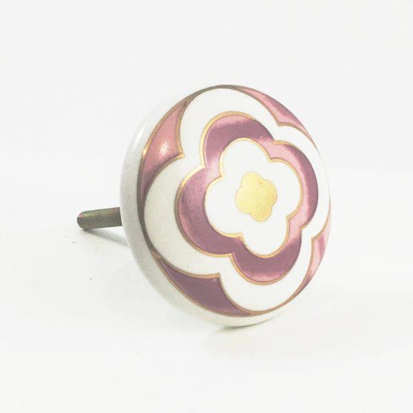 Round Ceramic Pink Flower Knob
