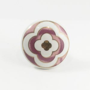 Pink and gold flower knob 4 300x300 - Round Ceramic Pink Flower Knob