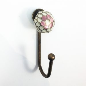 Pink honeycomb wall hook 1 300x300 - Geometric Ceramic Flower Wall Hook