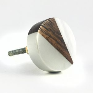 Round Wood Grey and pearl resin knob 1 300x300 - Round Wood Wedge Trio Knob
