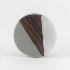 Round Wood Grey and pearl resin knob 3 300x300 - Round Wood Wedge Trio Knob