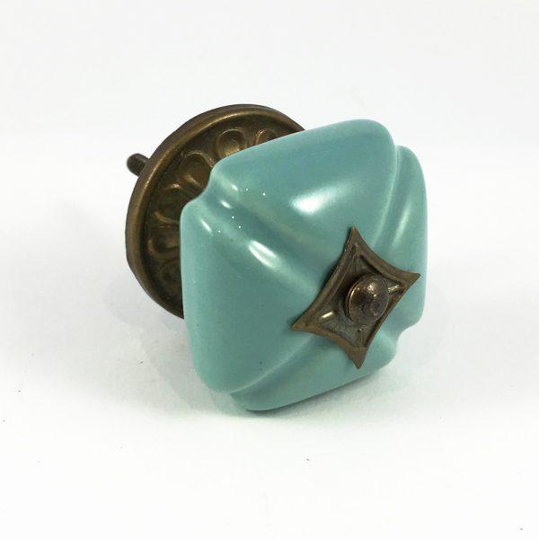 Turquoise Vintage Inspired Ceramic Knob
