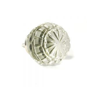 Round Patterned Clear Glass Knob