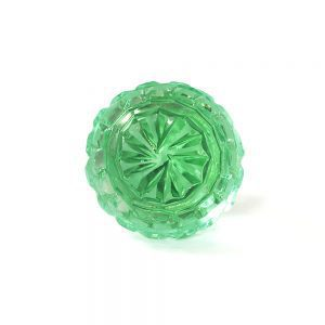 Round Patterned Green Glass Knob