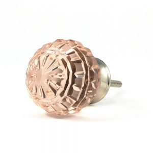 Round Patterned Pink Glass Knob