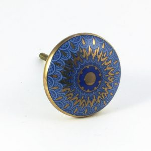 Round Blue and Gold Sun Mandala Knob