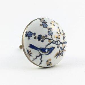 Blue bird and blossom knob 4 300x300 - Blue Bird Blossom Ceramic Knob