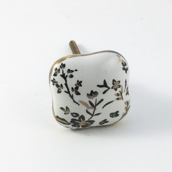 Cherry blossom knob 1 600x600 - Square Black Cherry Blossom Ceramic Knob