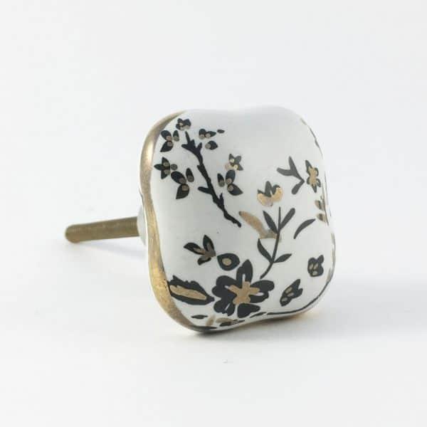 Square Black Cherry Blossom Ceramic Knob