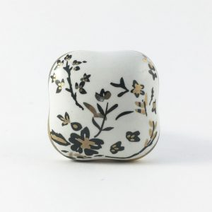 Square Black Cherry Blossom Ceramic Knob