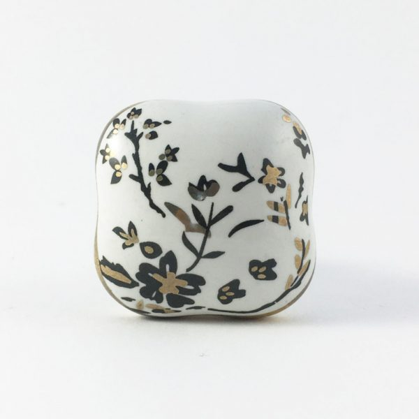 Cherry blossom knob 4 600x600 - Square Black Cherry Blossom Ceramic Knob