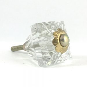 Square Patterned Clear Glass Knob