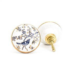 DSC 1311 Blue bird c 300x300 - Blue Bird Blossom Ceramic Knob
