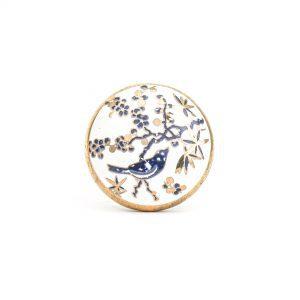 Blue Bird Blossom Ceramic Knob
