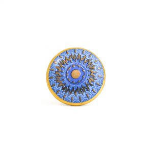Round Blue and Gold Sun Mandala Knob