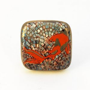 Square Koi Fish Ceramic Knob