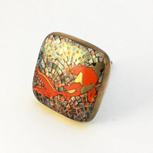 Square Koi Fish Ceramic Knob