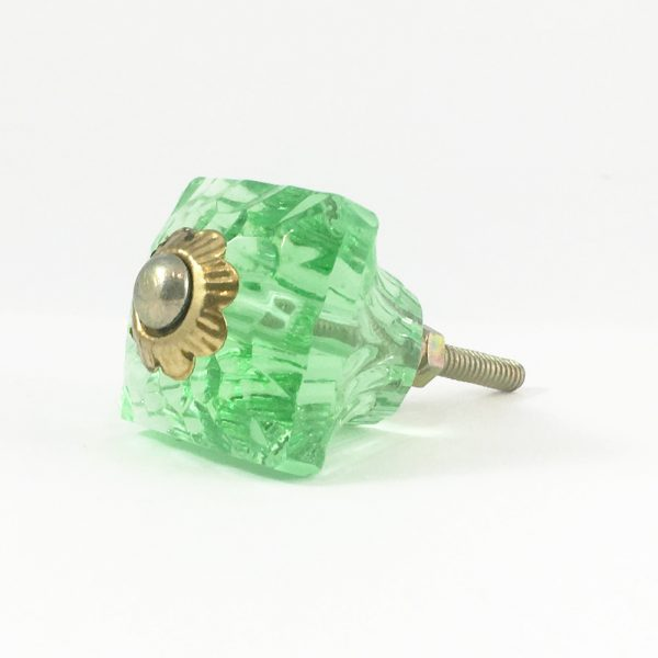 Square Patterned Green Glass Knob