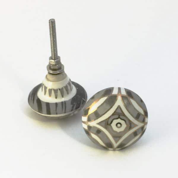 Grey Diamond Print Knob