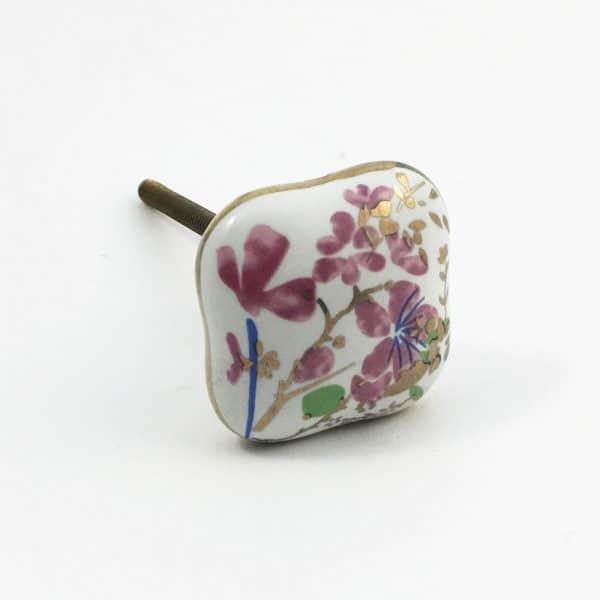 Pink Cherry blossom knob 5 600x600 - Square Pink Cherry Blossom Ceramic Knob