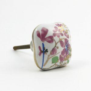 Square Pink Cherry Blossom Ceramic Knob
