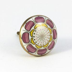 Round Pink Lotus Pod Knob