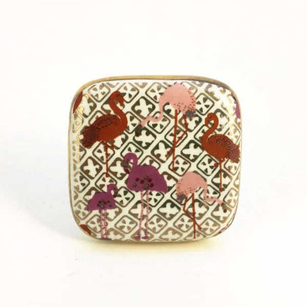 Square Flamingo Ceramic Knob