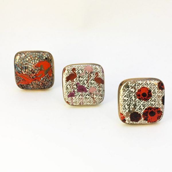 Square Red Poppy Ceramic Knob