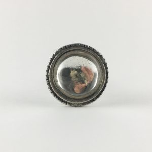 Clear Glass Silver Beaded Knob