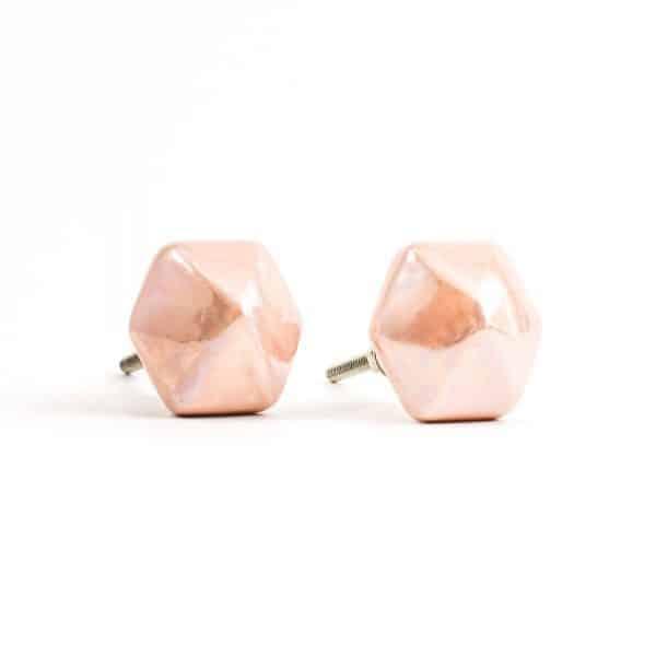 Pearled Peach Hex Knob