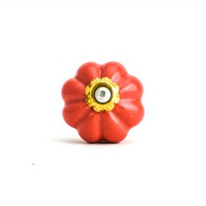 Coral Red Ceramic Melon Knob