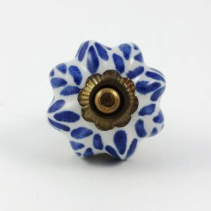 Blue Petal Design Ceramic Knob