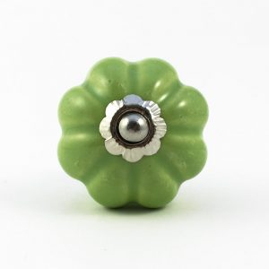 pea green solid melon knob 300x300 - Lime Green Ceramic Melon Knob