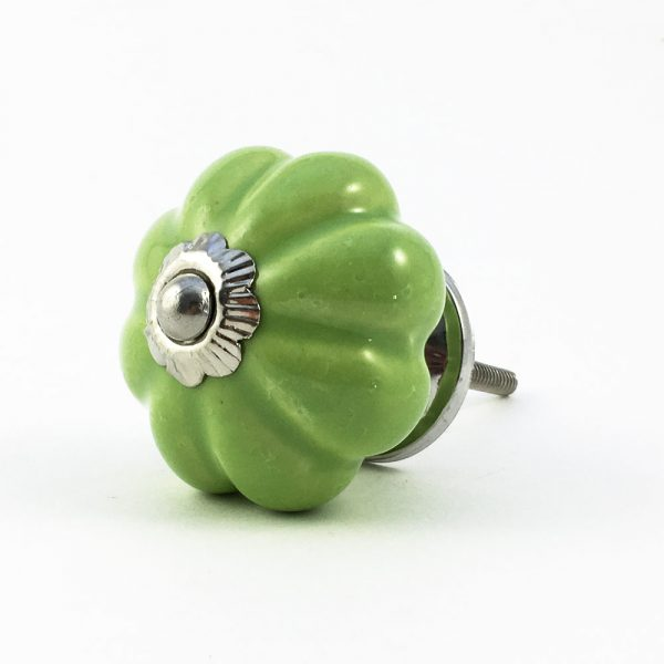 Lime Green Ceramic Melon Knob