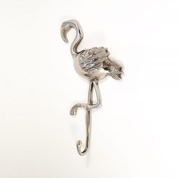 polished silver flamingo wall hook 1 600x600 - Polished Silver Flamingo Wall Hook